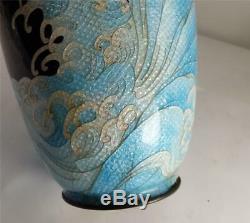 Antique Japanese Meiji Cloisonne Vase Three Clawed Dragon Above Wavy Seas
