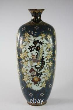 Antique Japanese Meiji Enamel Takehara Cloisonne Dragon And Phoenix Pattern Vase