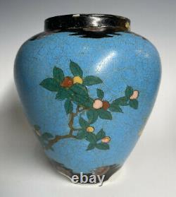 Antique Japanese Meiji Era Totai Shippo Cloisonne on PORCELAIN Vase 19th C