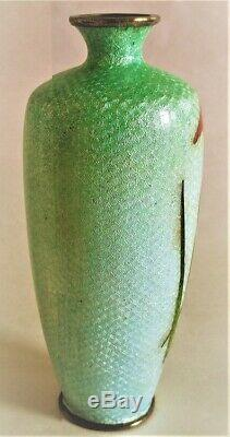 Antique Japanese Meiji Ginbari Cloisonne Iris Cabinet Vase