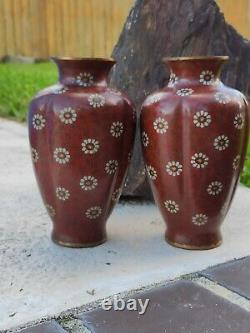 Antique Japanese Meiji Period Cloisonne Vase Signed In Wire