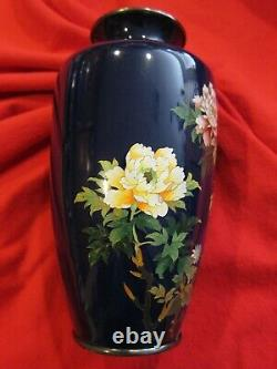 Antique Japanese Meiji Period Cloisonne Vase with Peony Motif 7 tall