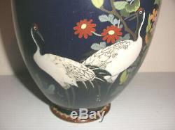 Antique Japanese Meiji era cloisonne cobalt vase with crane floral decoration