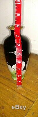 Antique Japanese Meiji era foil cloisonne signed vase with cranes birds decoration
