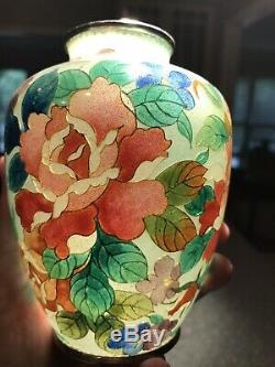 Antique Japanese Plique A Jour Vase Meiji Showa Cloisonné