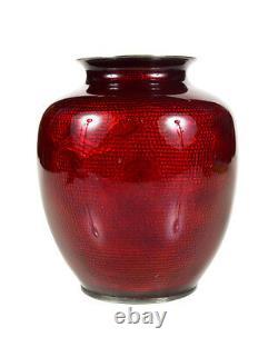 Antique Japanese Red Cloisonne Vase -Signed