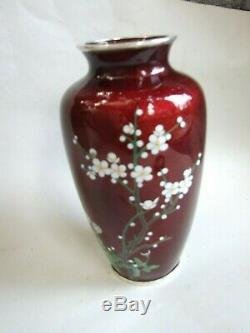 Antique Japanese Sato Style Cloisonne Enamel 8'' Pigeon Blood Red Floral Vase