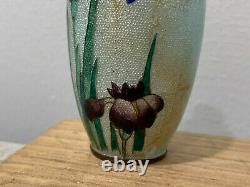 Antique Japanese Signed Miniature Ginbari Cloisonne Vase with Flowers Decoration