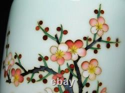 Antique Japanese Silver Wire Cloisonne Vase by Ando Shippoten Beautiful Flowers