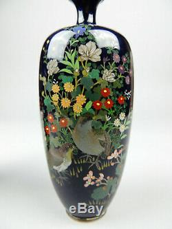 Antique Japanese Silver Wire Cloisonne vase pair