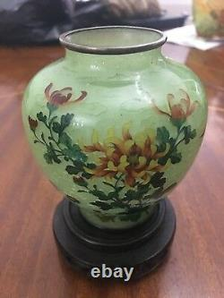 Antique Japanese Taisho Period Plique A Jour Cloisonne Vase By Kato Suzue