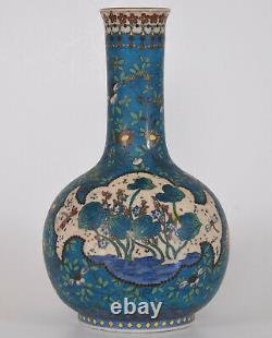 Antique Japanese Totai Shippo Vase Cloisonne on Porcelain Boy and Cow