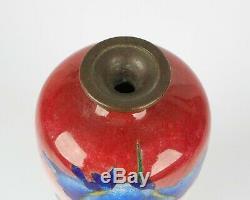 Antique Japanese Tsukamoto Hikokichi silver wire cloisonne iris vase