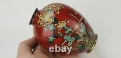Antique Japanese Wire Cloisonne Bronze Small Vase Meiji Period 4.9