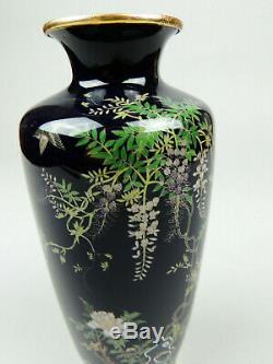 Antique Japanese cloisonne vase bird and wisteria