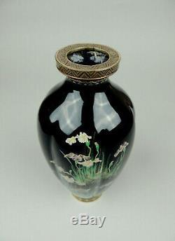 Antique Japanese cloisonne vase iris flowers
