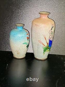 Antique Japanese ginbari cloisonné enamel bronze vase Lady dragon Edo Meiji Peri