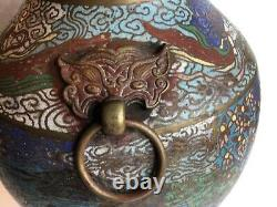Antique Large Bronze Japanese Cloisonne Vase/Urn, Foo Dog Handles, 14 Tall