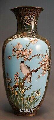 Antique Large Japanese Cloisonne Enamel Vase, Meiji period. 19 High