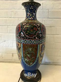 Antique Large Japanese Cloisonne Vase Mounted as Lamp Phoenix Butterfly Dragon