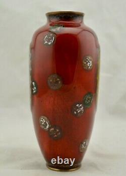 Antique Large Meiji-Period Japanese Cloisonne Ho-o Phoenix lobbed baluster vase
