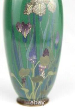 Antique MEIJI Japanese IRIS Flowers Cloisonne Silver Wire Vase 19th Early 20th c