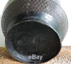 Antique Meiji Japanese Bronze Enamel Cloisonne/Champlevé Fish Bowl Pot Urn