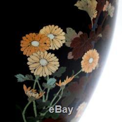 Antique Meiji Japanese Cloisonné Black Enamel Vase w Flowers & Butterflies VR