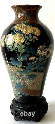 Antique Meiji Japanese Fine Black Cloisonne Chrysanthemums, Foliate Collar Neck