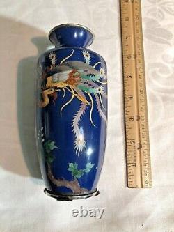 Antique Meiji Japanese Silver Wire Cloisonne 6 Vase Elaborate Phoenix Bird