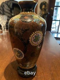 Antique Meiji Period Japanese Cloisonne Kyoto Enamel And Bronze 8 Vase