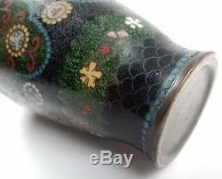 Antique Meiji Period Japanese Cloisonne Kyoto Enamel & Bronze 8 Vase