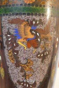 Antique Meiji Period Japanese Cloisonné Vase Dragon & Phoenix Design