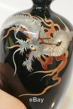 Antique Meiji Period Japanese Fine Cloisonné Vase 3 Toe Dragon Design
