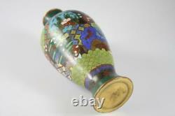 Antique Meiji Period Japanese Meiji Enamel Takehara Cloisonne Floral Vase
