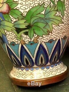 Antique & Or Vintage Chinese Or Japanese Cloisonne Peacock Vase Enamel Bottom