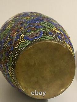 Antique Oriental Japanese Chinese Cloisonné Vase Enamel Brass Hand Decorated