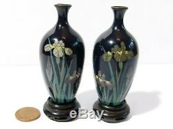 Antique Pair of Miniature Cloisonne Enamel Japanese Vases Carved Wood Stands 3
