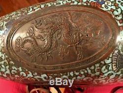 Antique RARE ASIAN Cloisonne Vase Lamp BRONZE DRAGONS brass Buddha finial