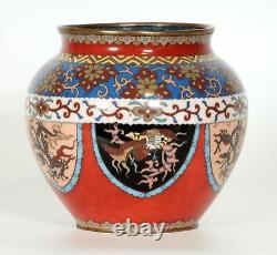 Antique Signed Japanese Cloisonne Dragon, Phoenix & Arabesque Jardinière/Bowl