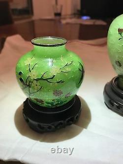 Antique Three Japanese Taisho Period Plique A Jour Cloisonne Vase By Kato Suzue