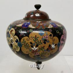 Antique VIntage Chinese Japanese Cloisonne Covered Vase Bowl Censer Floral