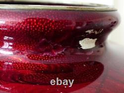 Antique / Vintage 18.5 Inch Large Japanese Ginbari Cloisonné Red Enamel Vase