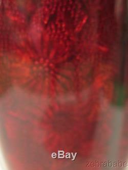 Antique Vintage Ginbari Cloisonne Vase Red Floral Design Fluted
