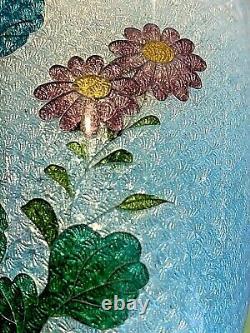 Antique/Vintage Japanese Cloisonne Foil Vase. Floral Scene 7
