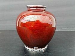 Antique Vintage Japanese Cloisonne Pigeon Blood Ginbari Red Koi Fish Vase Sato