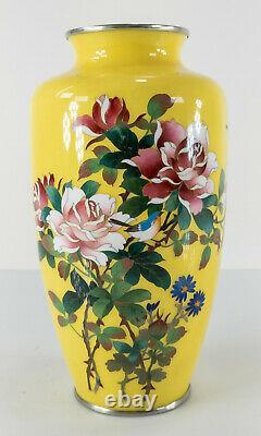 Antique Vintage Japanese Yellow Cloisonne Enamel Vase Floral Decoration