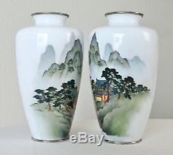 Antique Vintage Pair Japanese Cloisonne Vases 7 Scenic Mountain Tree Landscape