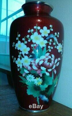 Antique Vintage STAMPED ANDO CLOISONNE COMPANY REPOUSSE 10 Red Bloody Vase JAPAN