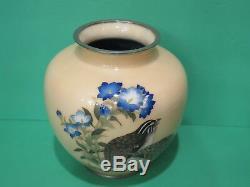 Antique Vintage TAMURA Signed Cloisonne Vase Quail